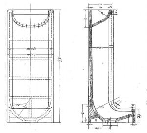 写真:1953年に描かれた手洗い付き小便器の設計図=TOTO提供