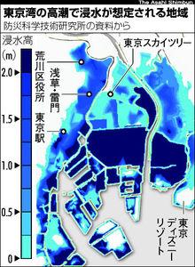 図:東京湾の高潮で浸水が想定される地域