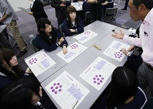 藤原和博先生の話を聞く(左から)白石麻衣、樋口日奈、宮澤成良ら=竹谷俊之撮影