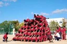 写真:9月25日の体育大会で10段ピラミッドを組みあげ、解体する様子=いずれも兵庫県伊丹市立天王寺川中学校提供