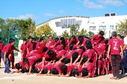 写真:ピラミッド前面の生徒が頭を下げ、上の生徒から順に滑り降りる=9月25日、兵庫県伊丹市鴻池3丁目、市立天王寺川中学校提供
