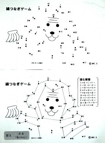 写真:大阪樟蔭女子大の学生らが作成した小学校での英語授業用の教材。教師が読み上げるアルファベットを線で順番につないでいくと、猿のイラスト(下図)が出来上がる