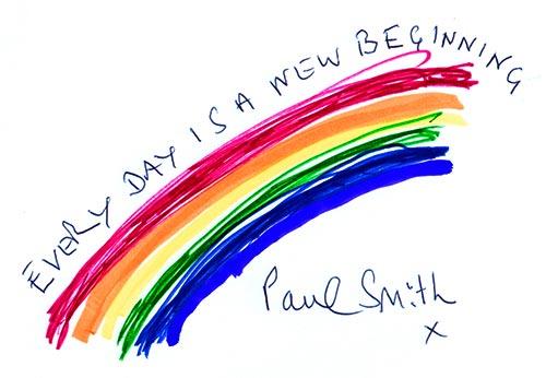 :アサヒ・コム読者に向けて、七色の虹に乗せ「毎日が新しい始まり」と描いた。