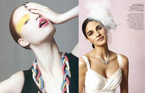 写真:左)「El Libro Amarillo」2011 April 撮影:Kate Orne 右)「Vogue Russia」2011 Spring 撮影:Patric shaw 生まれ持った肌色は人それぞれ。その人の肌色を尊重し、 完璧な素肌を作る美肌メイク。