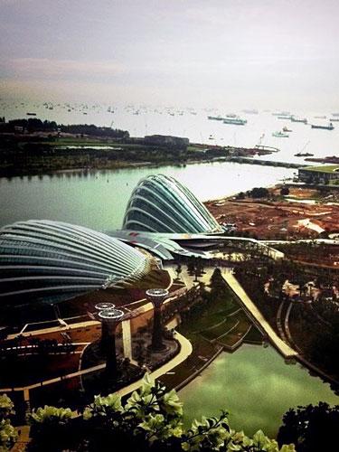 写真:ホテルからみた景色は、まるで近未来都市。建築中のこの下の場所には植物園が経つ予定