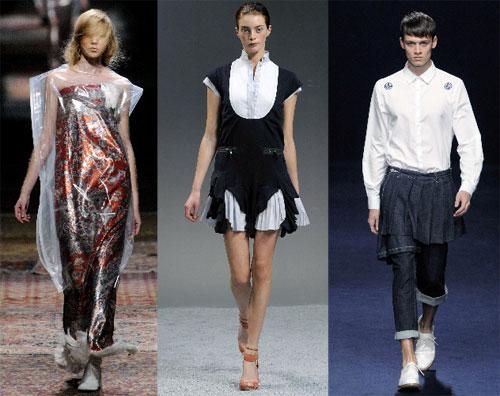 写真:左からメゾン・マルタン・マルジェラ、サカイ、フェノメノン=2012年春夏作品。大原広和氏撮影