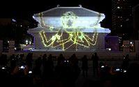 プロジェクションマッピングで彩られた興福寺中金堂の大雪像