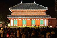 プロジェクションマッピングで彩られた興福寺中金堂の大雪像 (C)HTB