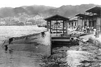 強風と荒波で水没した神戸港中突堤=1934年9月21日