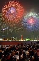 色とりどりの花火が神戸港の夜空を焦がした=2007年8月4日午後7時40分、神戸市中央区のポートアイランド