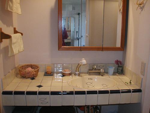 写真:コーポラティブハウスに住んでいた頃に撮った洗面所の流し台。わかりにくいが、下がすこんと空いている。ものが増えた今ならここに引き出しケースを入れたい。