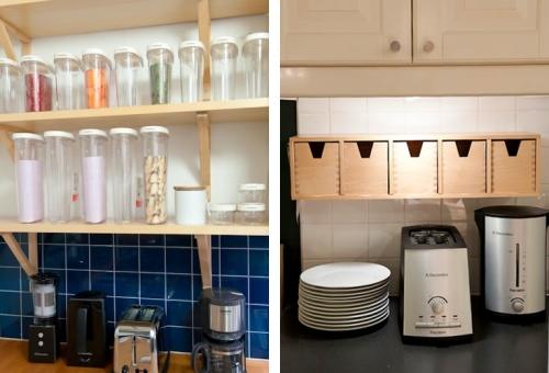 """写真:パスタやシリアル、乾物類は容器を揃えてディスプレイして""""見せる収納""""(IKEA365+フード収納シリーズ)。ごちゃごちゃしがちな小物はウォールシェルフに""""隠す収納""""(FORHOJAウォールシェルフ)。"""
