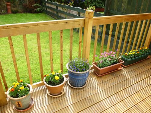 写真:ウッドデッキにガーデンベンチを置き、花を飾ると、新しい一家だんらんの場所が完成