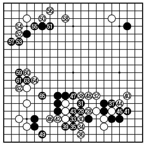 写真:途中図(28—65)、66手目=封じ手