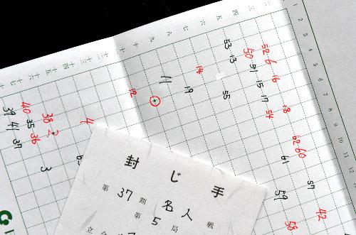 写真:山下敬吾名人の封じ手、4の十(○印)=18日、神戸市北区の「御所坊」、諫山卓弥撮影
