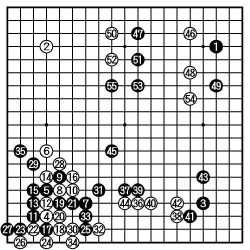 図:〈途中図〉先番・羽根九段(55手まで)
