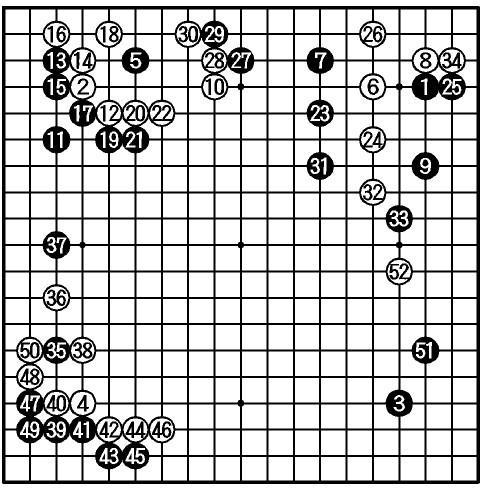 図:第2局 (黒)洪ソッ義(ソッは夾の人がそれぞれ百)—(白)河成奉 図・1〜52手(以下略)黒中押し勝ち