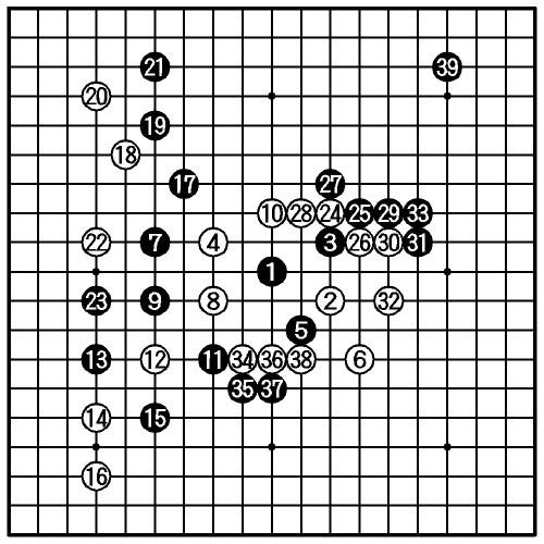 図:【第2局】黒・大澤四段—白・大澤初段 1—39手、以下略