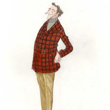 「マッキノー・コートの研究」 休日には大きな格子柄の毛織物