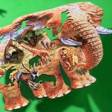 完成形はゾウ! ピースまで動物の手ごわいジグソーパズル
