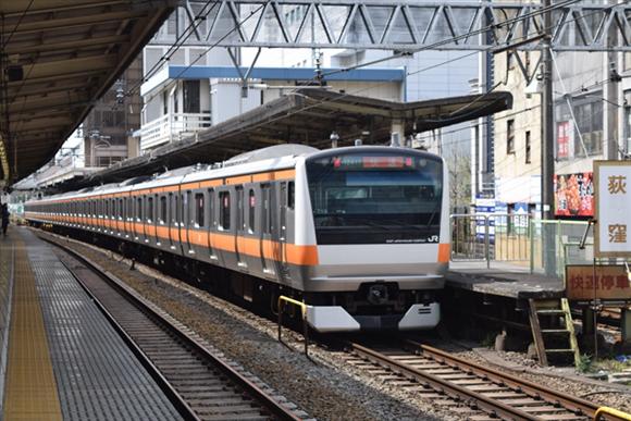 荻窪駅 青梅街道をくぐり、環八を渡る中央線をチェック