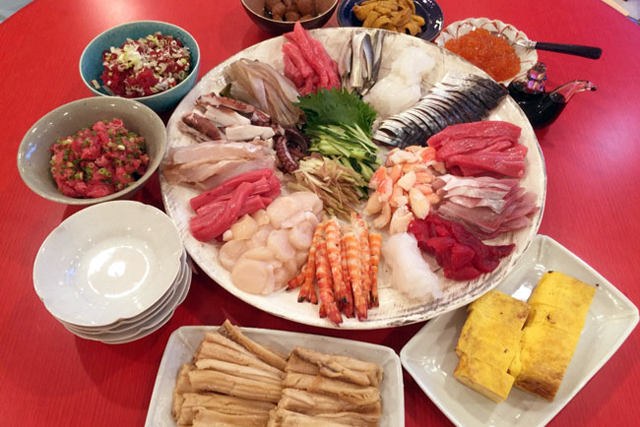 父の日のお祝いに、豪華手巻き寿司