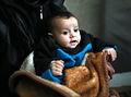 元は倉庫だった建物には5カ月の赤ん坊も避難していた=9日午後、アレッポ、矢木隆晴撮影