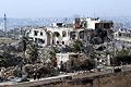 アレッポ城周辺の旧市街の建物は激しく破壊されていた。爆撃と砲撃によるとみられる=10日午後、アレッポ、矢木隆晴撮影