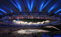 花火を合図にリオ五輪の開会式が始まった=樫山晃生撮影