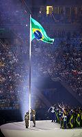 ブラジル国旗が掲揚された=樫山晃生撮影