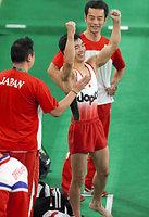 男子種目別跳馬で銅メダルを獲得した白井健三=林敏行撮影