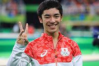 跳馬で銅メダルを獲得した白井健三=長島一浩撮影