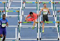 男子110メートル障害で予選敗退した矢沢航(中央)=諫山卓弥撮影