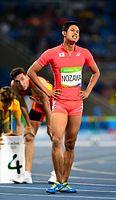 男子400メートル障害準決勝で敗退した野沢啓佑=諫山卓弥撮影
