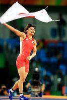 女子58キロ級で金メダルを獲得した伊調馨=17日、カリオカアリーナ、長島一浩撮影