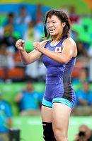女子63キロ級決勝で、金メダル獲得を決めて喜ぶ川井梨紗子=林敏行撮影