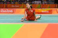 女子シングルス準決勝で敗れたが、対戦相手が棄権したため銅メダルが確定した奥原希望=竹花徹朗撮影