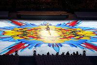 閉会式会場に映し出された「フルーツと鳥」のイメージ映像=樫山晃生撮影