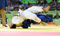 男子60キロ級準々決勝、一本負けした高藤直寿(上)=竹花徹朗撮影