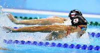 女子100メートルバタフライ予選を57秒27の日本新記録で突破した池江璃花子=西畑志朗撮影