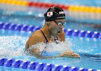 女子400メートル個人メドレー予選を日本新記録で突破した清水咲子=西畑志朗撮影