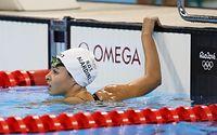 女子100メートルバタフライ予選に出場した難民選手団のユスラ・マルディニ=西畑志朗撮影