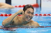 男子400メートル個人メドレーで優勝した萩野公介=西畑志朗撮影