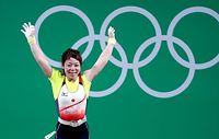 女子48キロ級で銅メダルを獲得した三宅宏実=ロイター