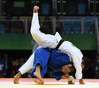 男子66キロ級3位決定戦で銅メダルを獲得した海老沼匡=竹花徹朗撮影