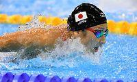 女子100メートルバタフライ決勝で6位に入賞した池江璃花子=竹花徹朗撮影