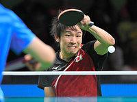 男子シングルスで準々決勝に進んだ丹羽孝希=竹花徹朗撮影