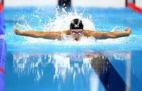 男子200メートルバタフライで銀メダルを獲得した坂井聖人=西畑志朗撮影