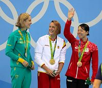 女子200メートルバタフライで銅メダルを獲得した星奈津美=西畑志朗撮影
