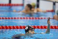 男子200メートル個人メドレーで銀メダルを獲得した萩野公介=西畑志朗撮影